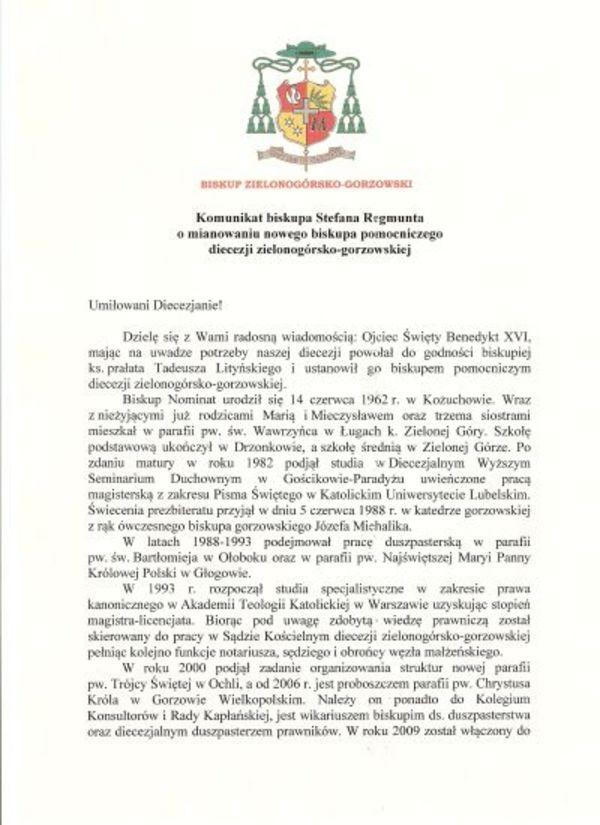 tadeusz litynski biskupem pomocniczym, zdjęcie 1/3