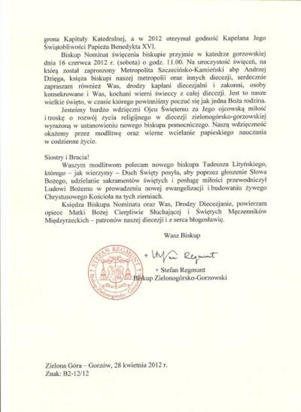 tadeusz litynski biskupem pomocniczym, zdjęcie 2/3